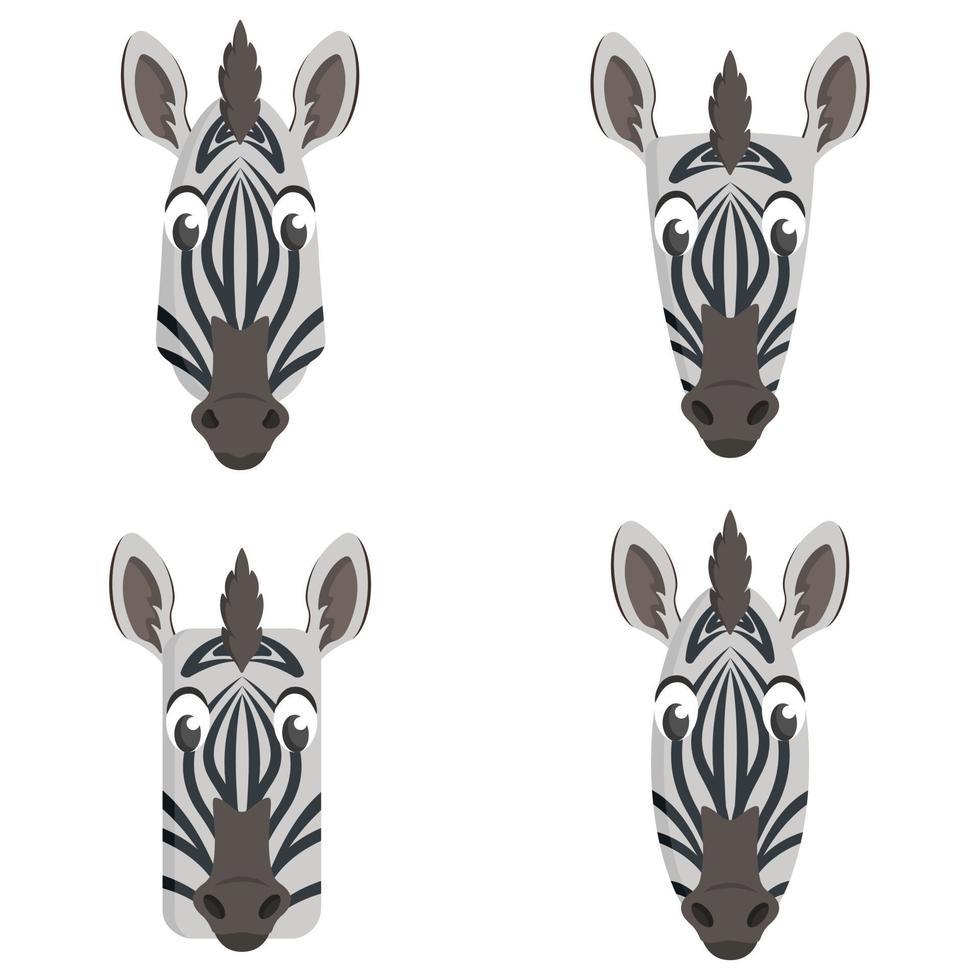conjunto de zebras de desenhos animados. vetor
