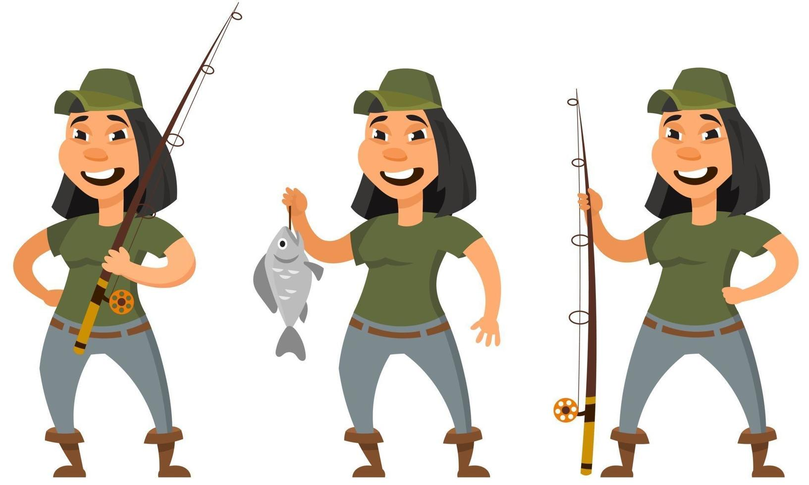 pescador em diferentes poses. personagem feminina em estilo cartoon. vetor