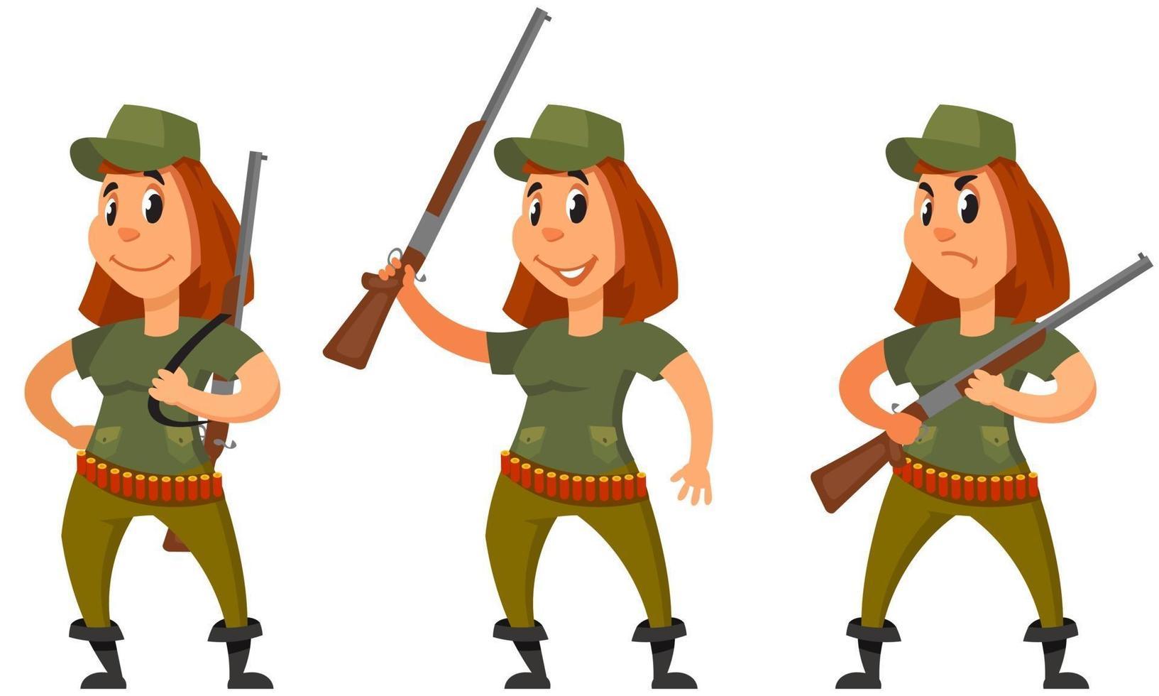 caçador em diferentes poses. personagem feminina em estilo cartoon. vetor