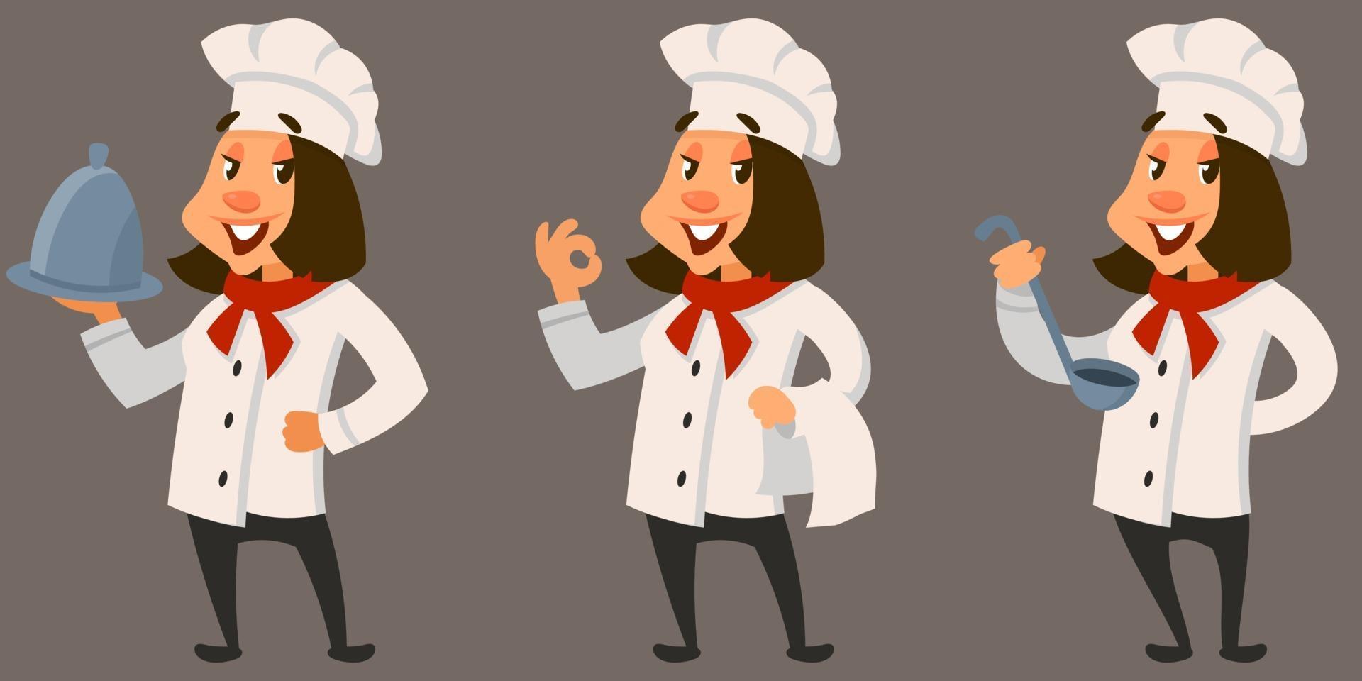 chef feminina em diferentes poses. vetor