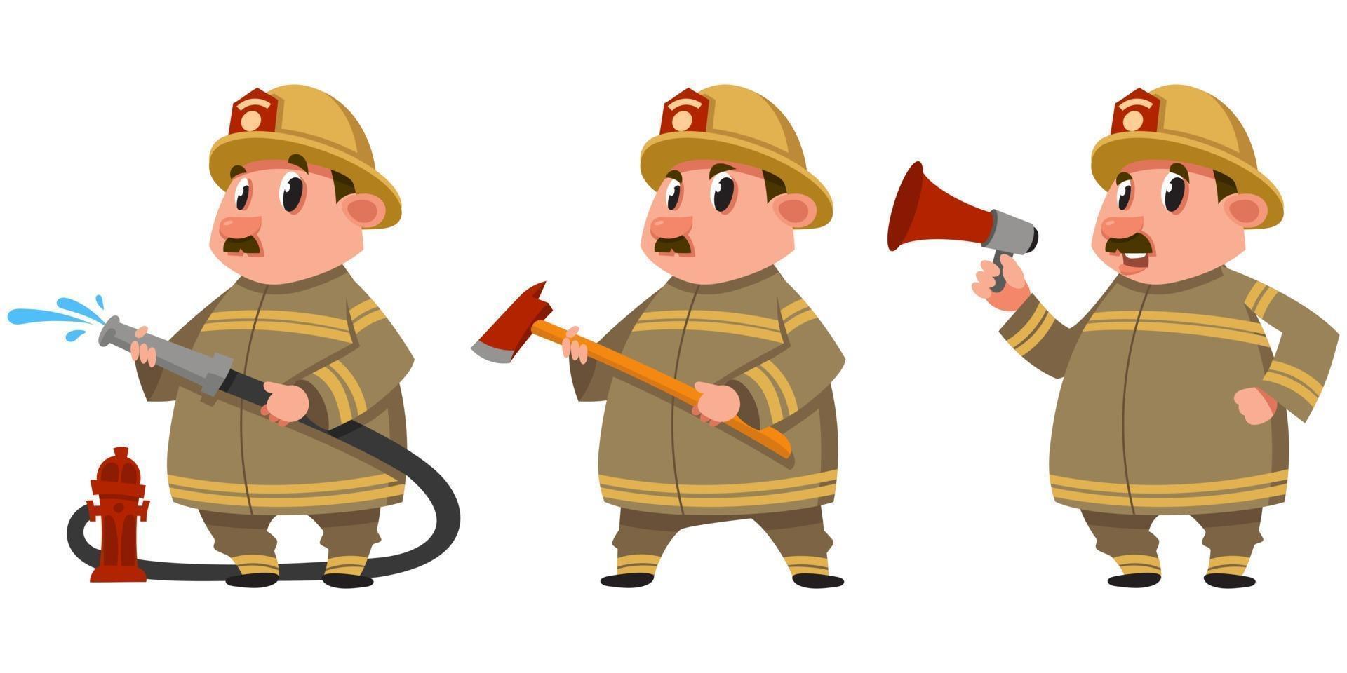 bombeiro em diferentes poses. vetor