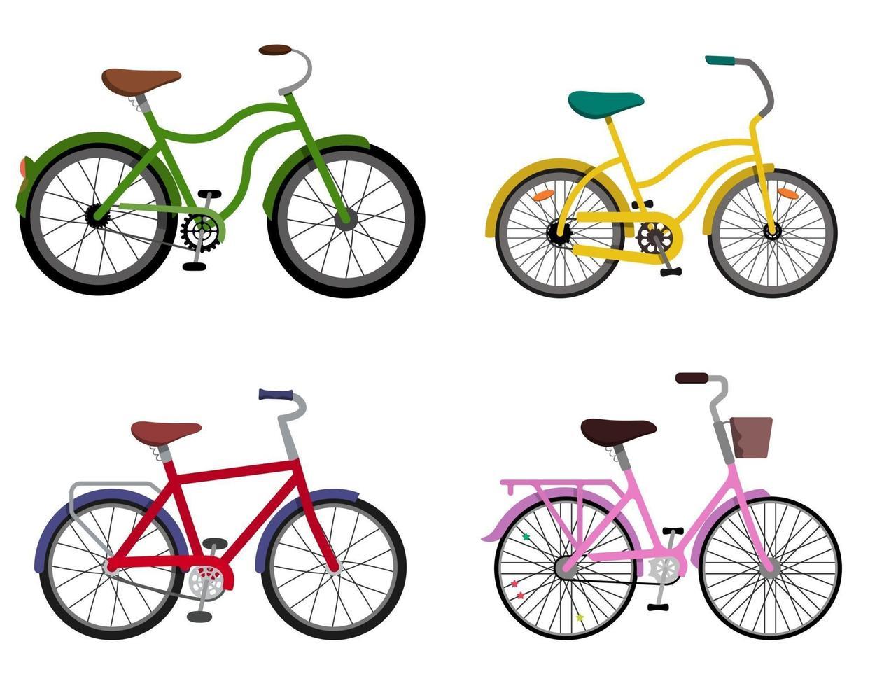 conjunto de bicicletas diferentes. vetor