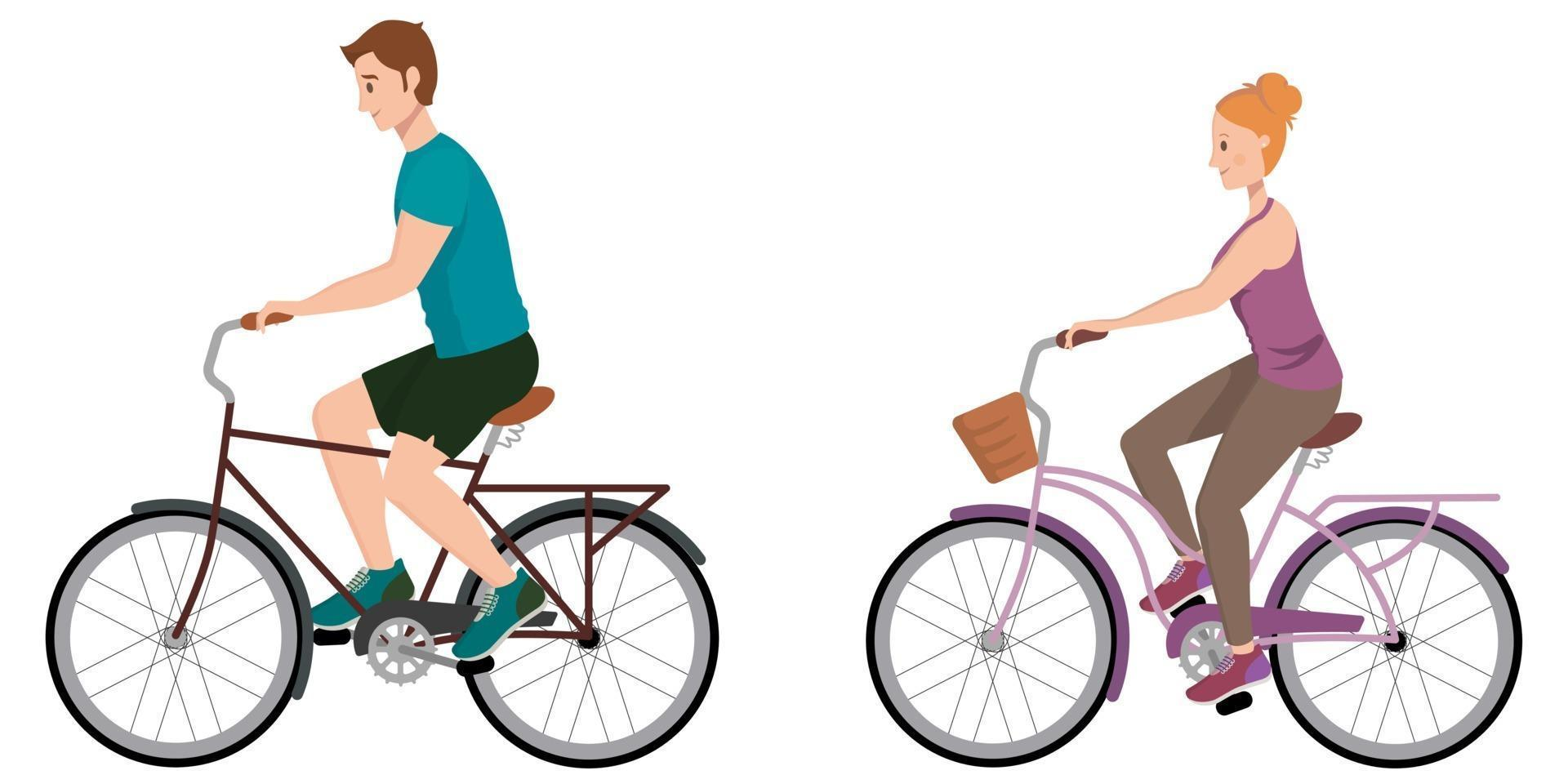 homem e mulher andando de bicicleta. vetor