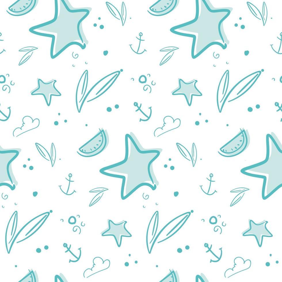 padrão sem emenda com estrelas e âncoras. vetor