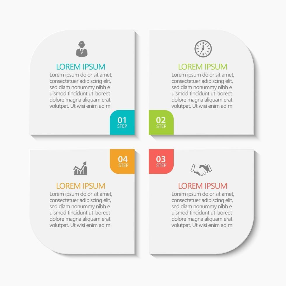 modelo de infográfico de negócios moderno de formato quadrado com 4 opções vetor