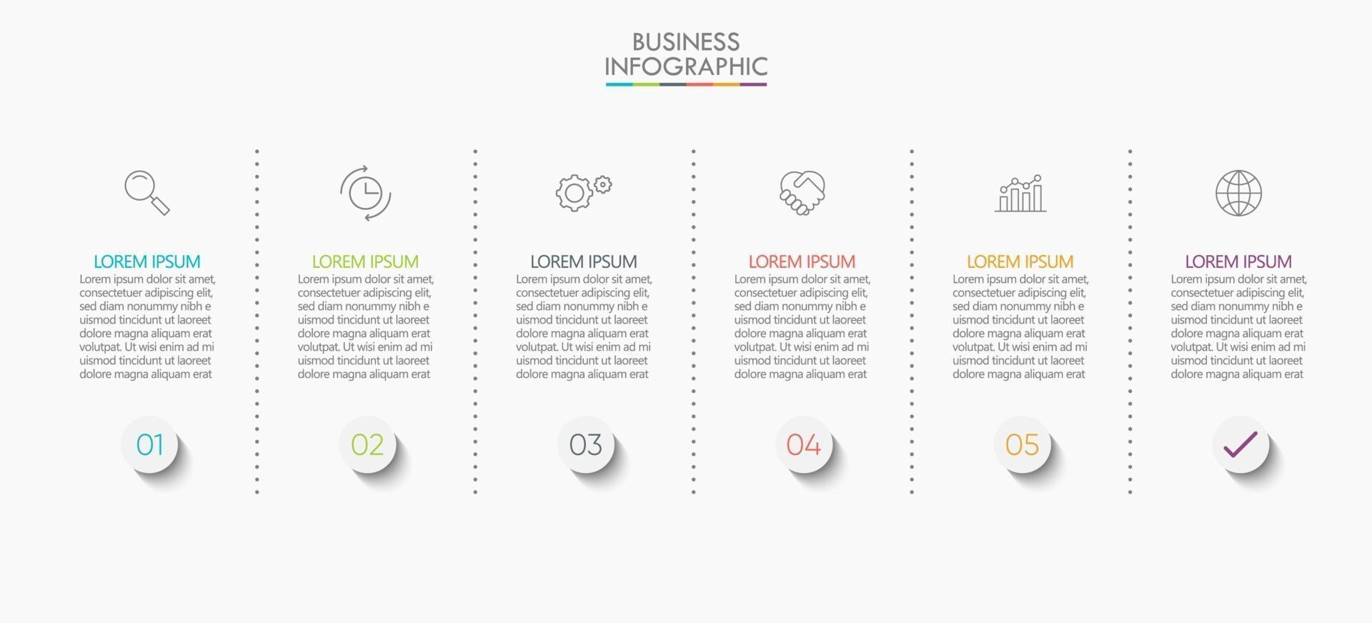 modelo de conexão infográfico moderno com 6 opções vetor