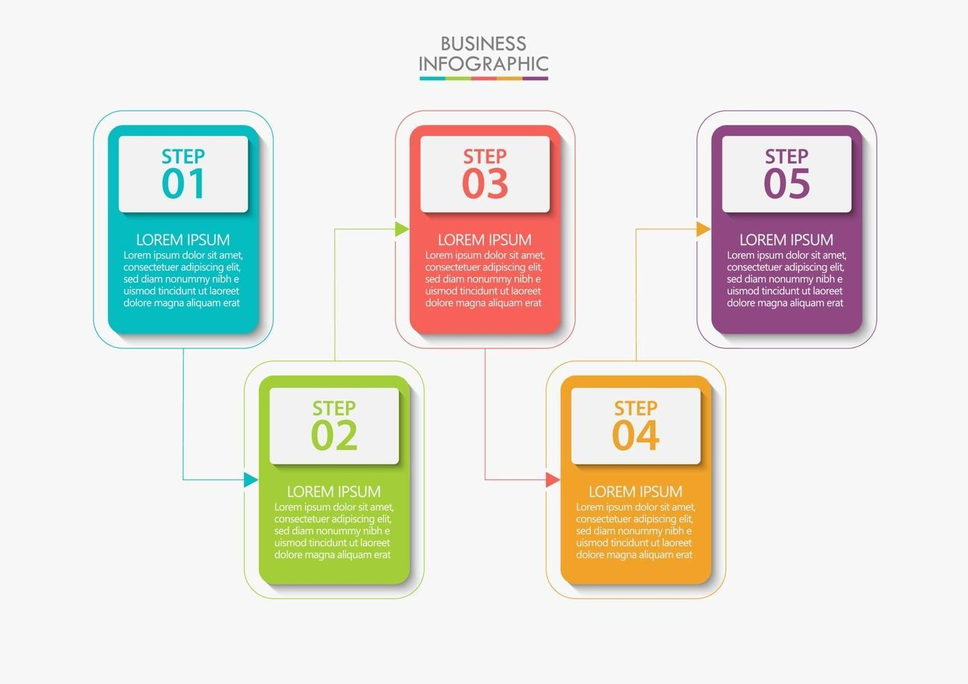 modelo de infográfico de negócios moderno de formato quadrado com 5 opções vetor