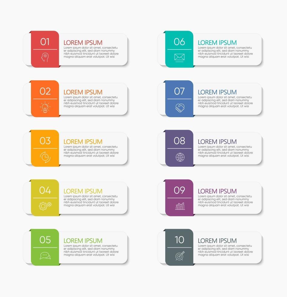 ícones de infográficos com 10 números vetor