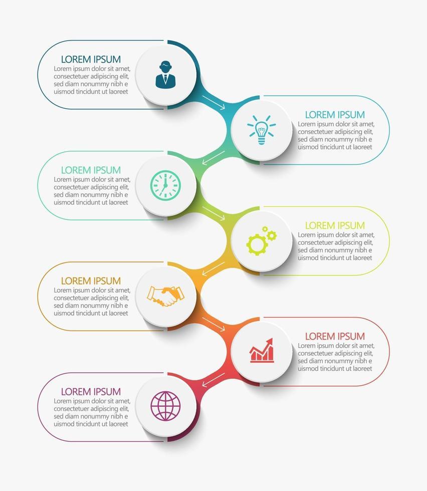 modelo de conexão infográfico moderno com 7 opções vetor