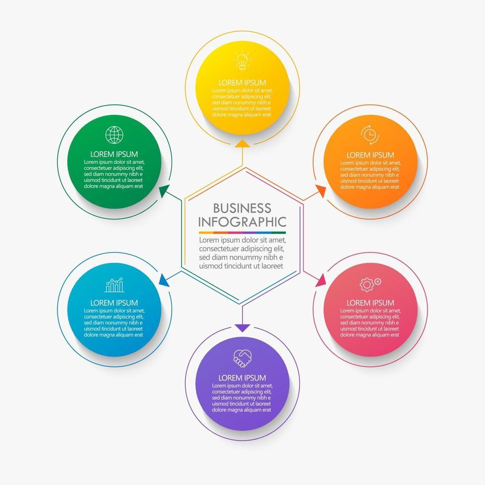 modelo de infográfico de círculo moderno com 6 opções. vetor