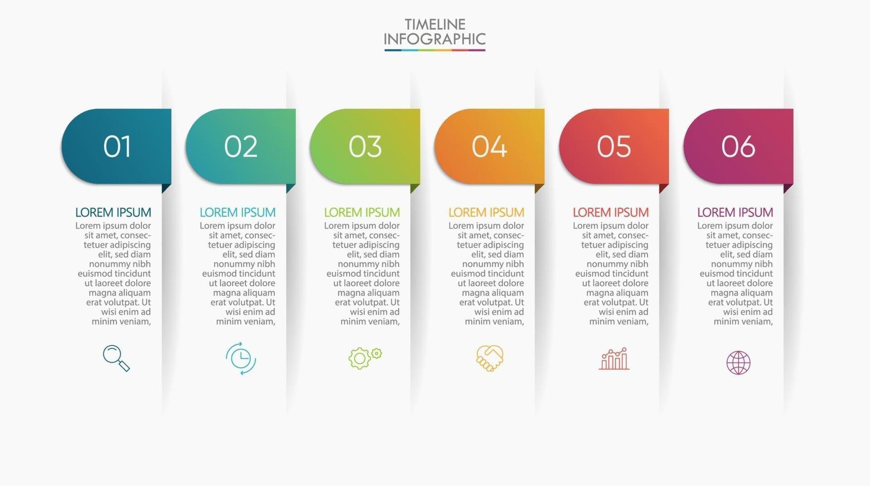 ícones de infográficos passo com 6 opções vetor