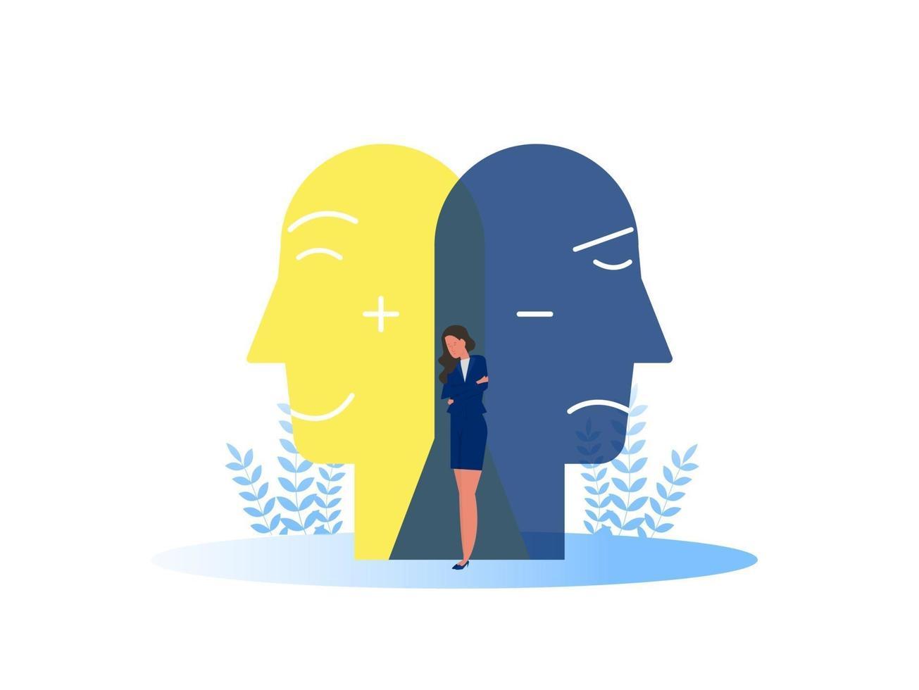 Síndrome do impostor máscaras com expressões alegres ou tristes. transtorno bipolar falsos rostos e emoções. psicologia comportamento falso ou enganador vetor