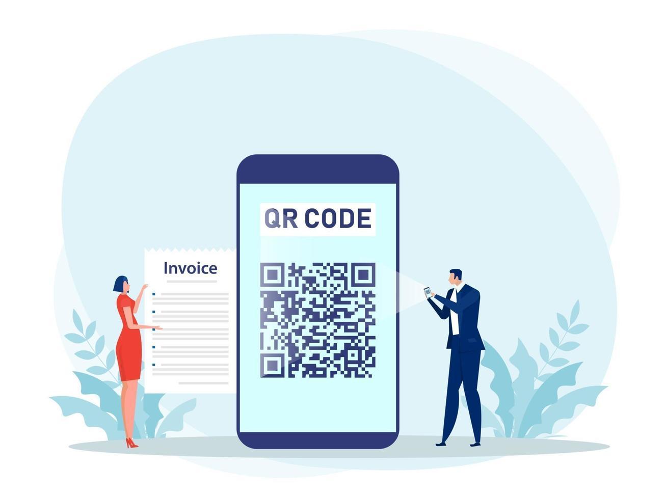 pessoas usando um smartphone para pagar com leitura de código QR vetor