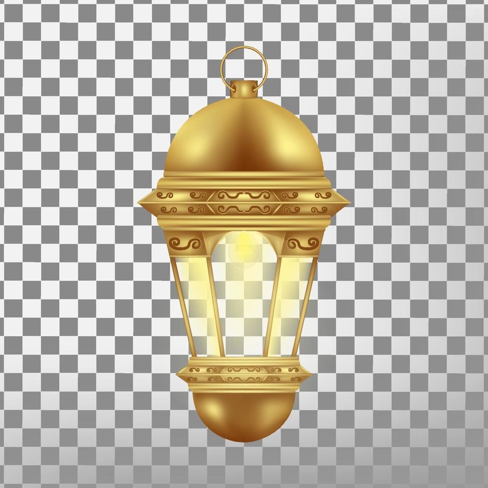 lanterna de ouro vintage isolada. ilustração vetorial realista. vetor