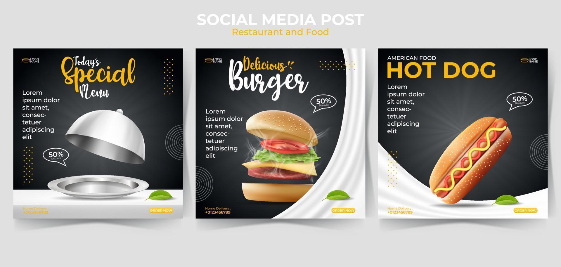 conjunto de modelo de banner quadrado mínimo editável. postagem de comida ou culinária nas redes sociais e anúncios na Internet na web. ilustração vetorial com hambúrguer realista, cachorro-quente. vetor