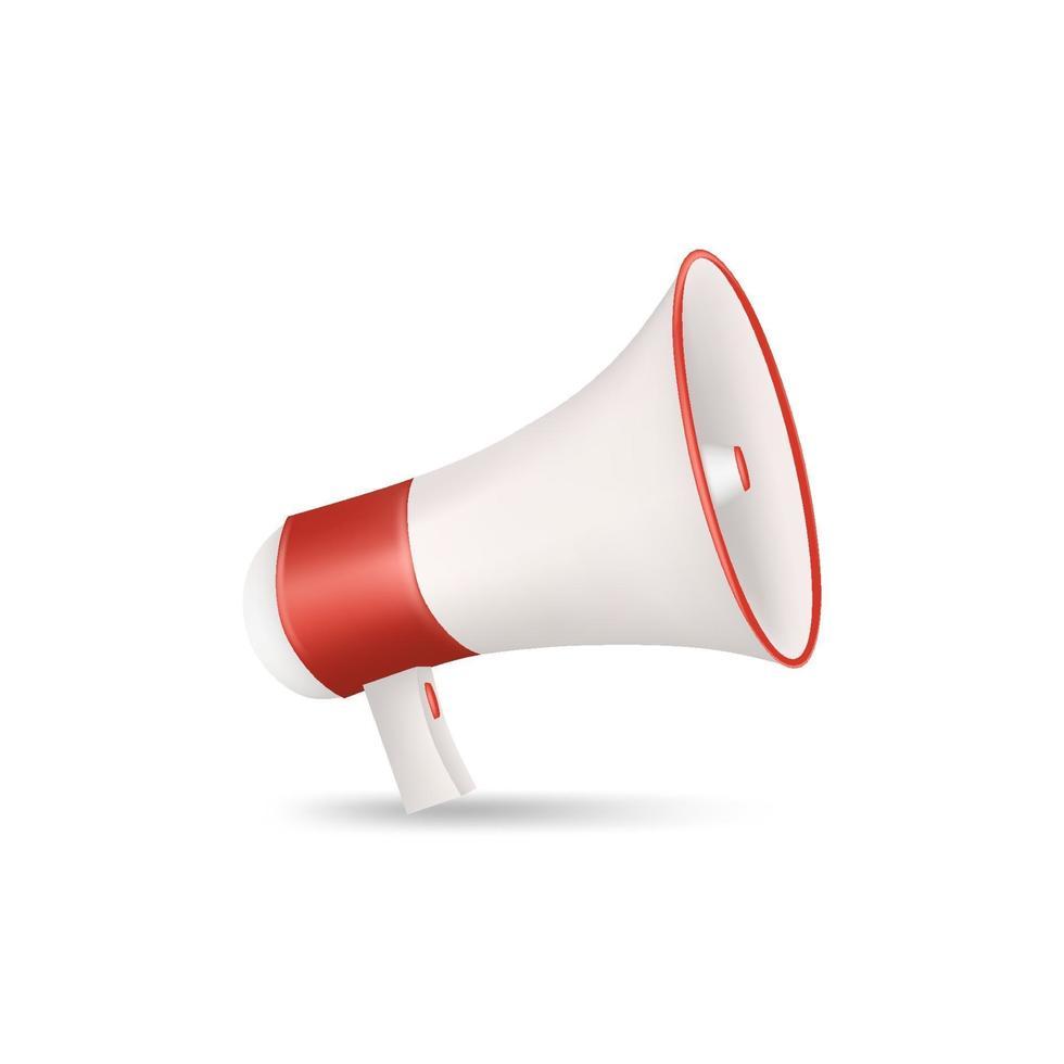 megafone vermelho e branco isolado no fundo branco. Ilustração vetorial 3d vetor