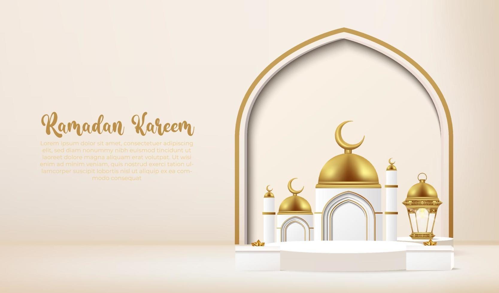 Fundo 3D Kareem Ramadan com pódio. vetor