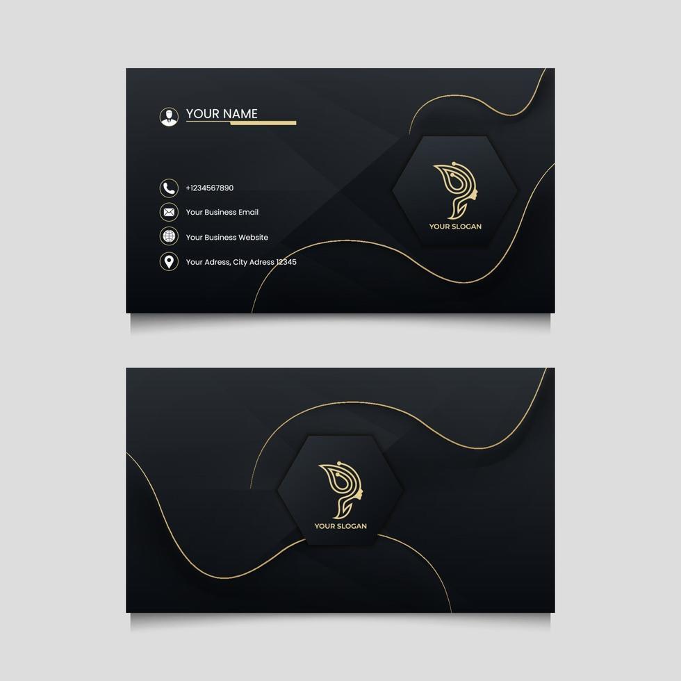 modelo de cartão de visita elegante em estilo dourado vetor