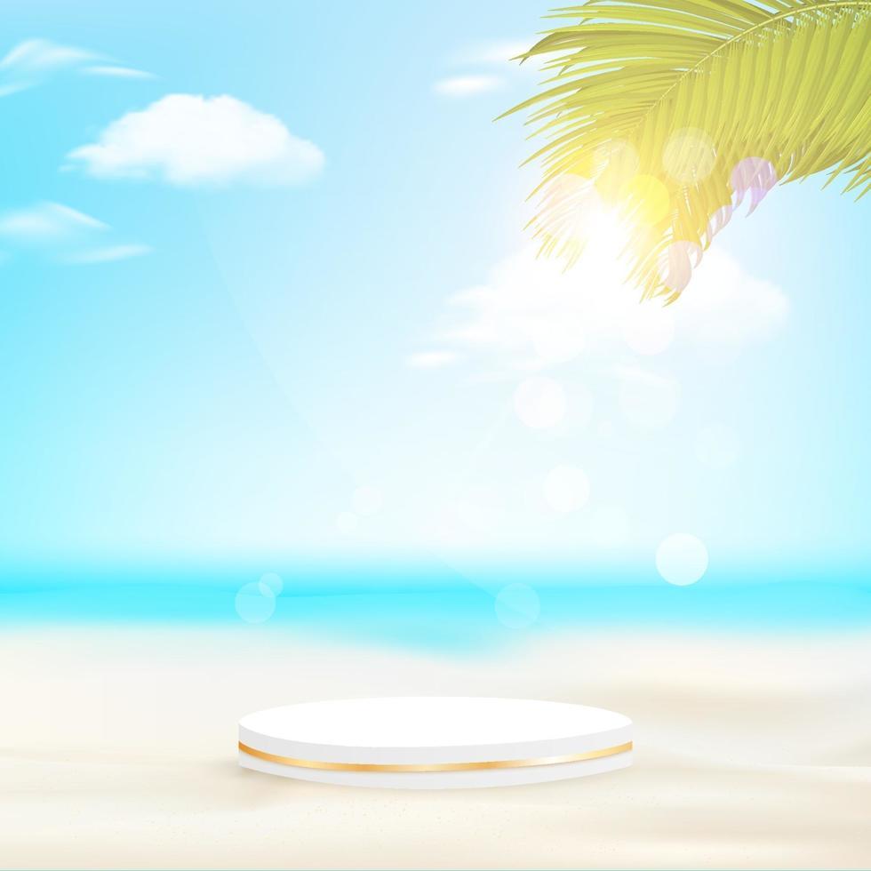 pódio geométrico mínimo com fundo de praia à luz do dia e folhas de palmeira. vetor