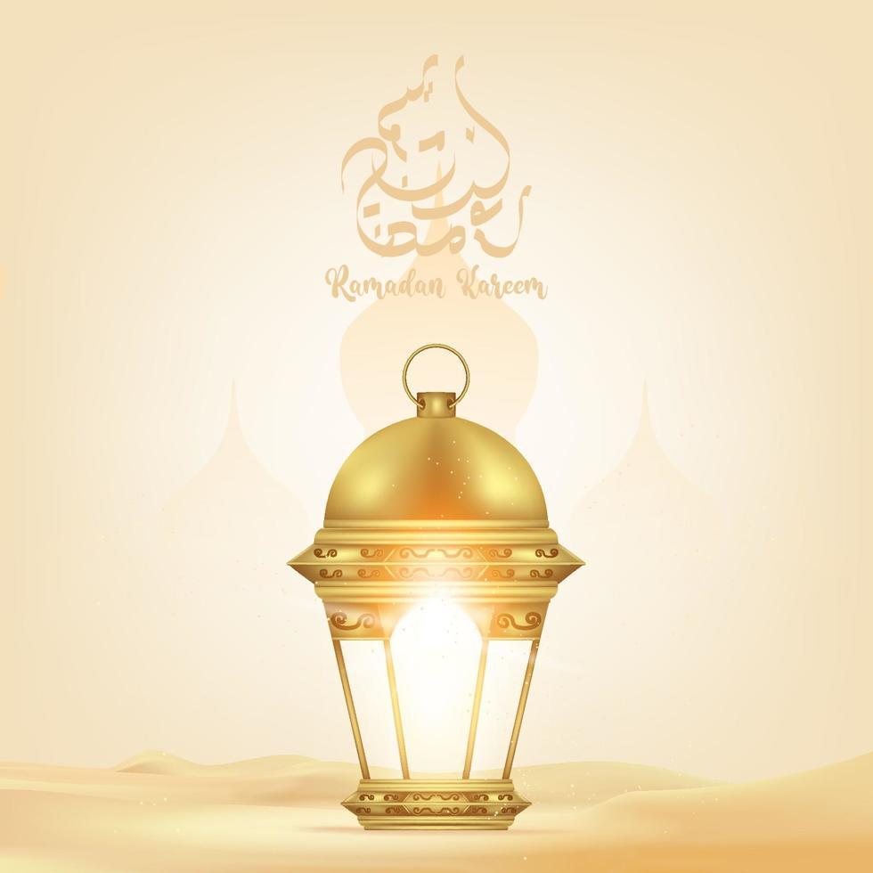 fundo ramadan kareem com lanterna, mesquita. cartão ramadan mubarak, convite para a comunidade muçulmana. vetor