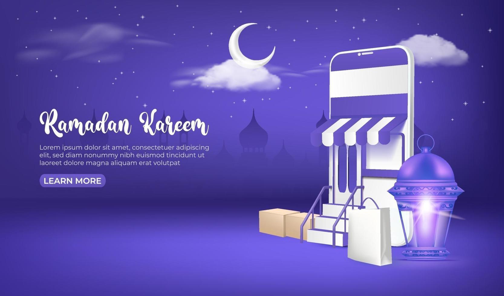 anúncios de banner de venda do Ramadã, compras on-line do Ramadã no celular e no site. vetor