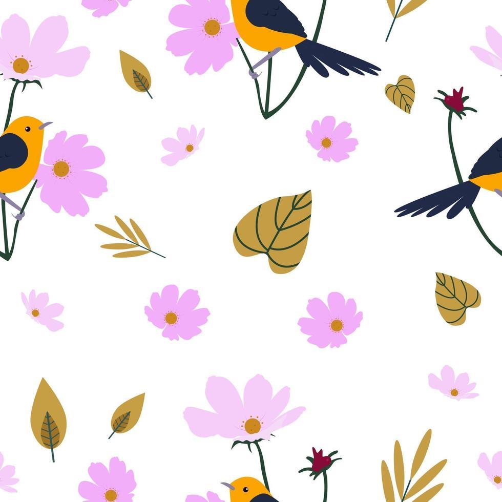 padrão sem emenda com pássaros e flores vetor