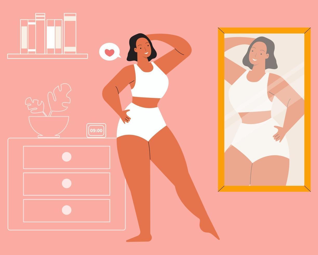 garota se olhando no espelho. amor próprio, positividade do corpo e conceito de aceitação do corpo. vetor