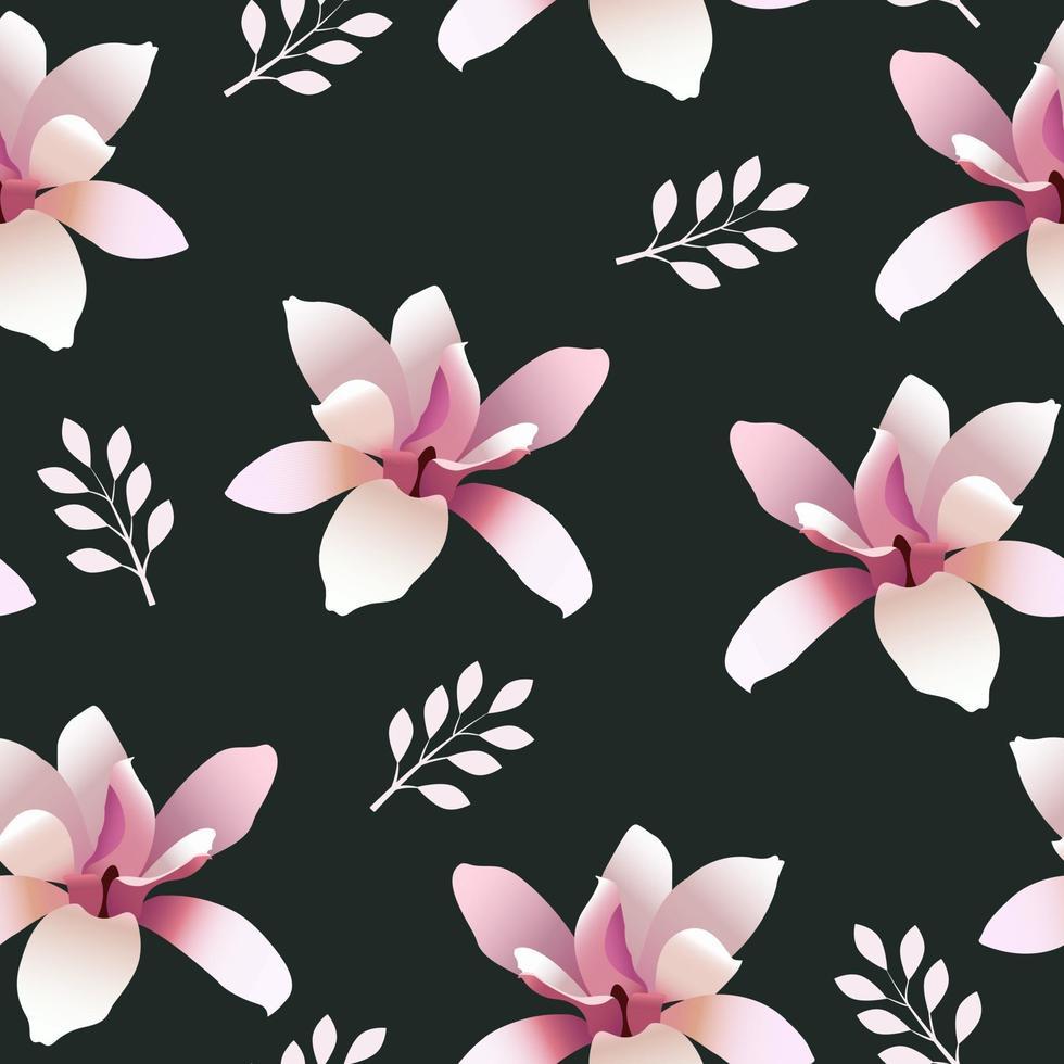 padrão sem emenda com flores de magnólia vetor