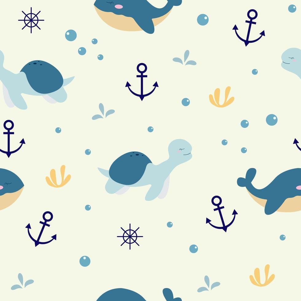 padrão sem emenda com tartaruga e baleia fofa vetor
