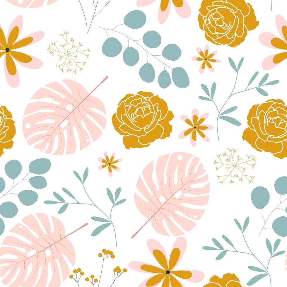 padrão sem emenda com flores coloridas vetor
