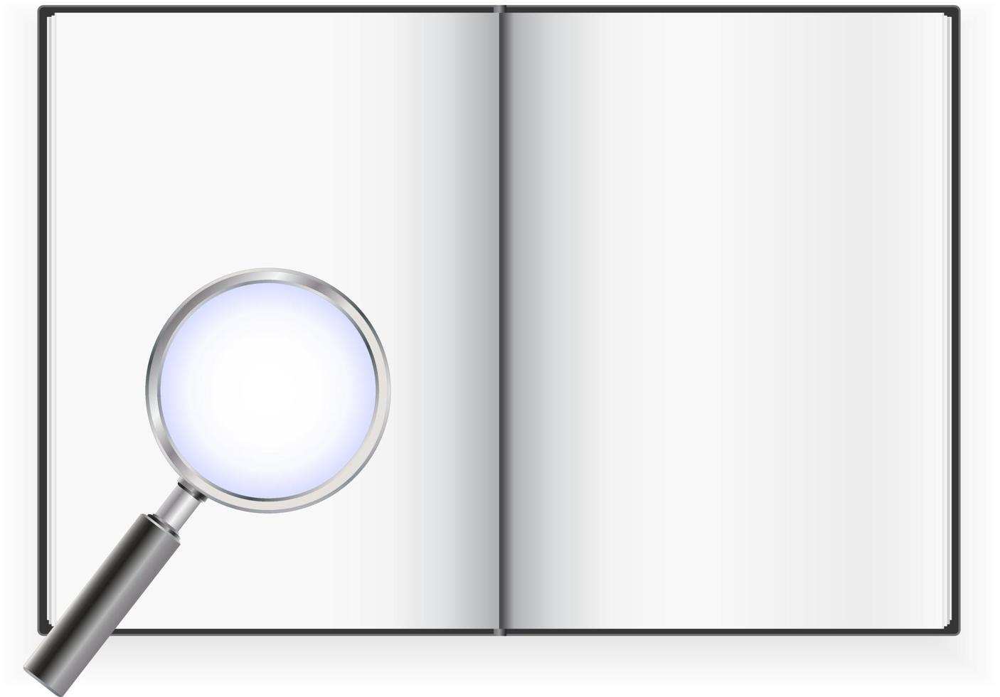 livro aberto com lupa vetor