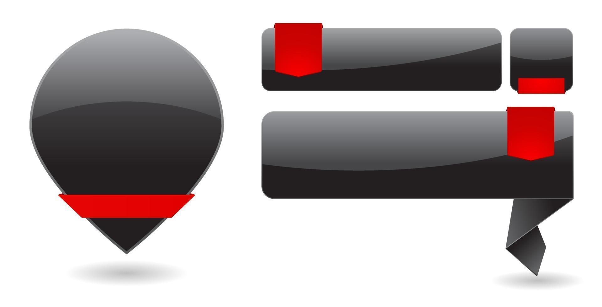banners pretos com tag vetor