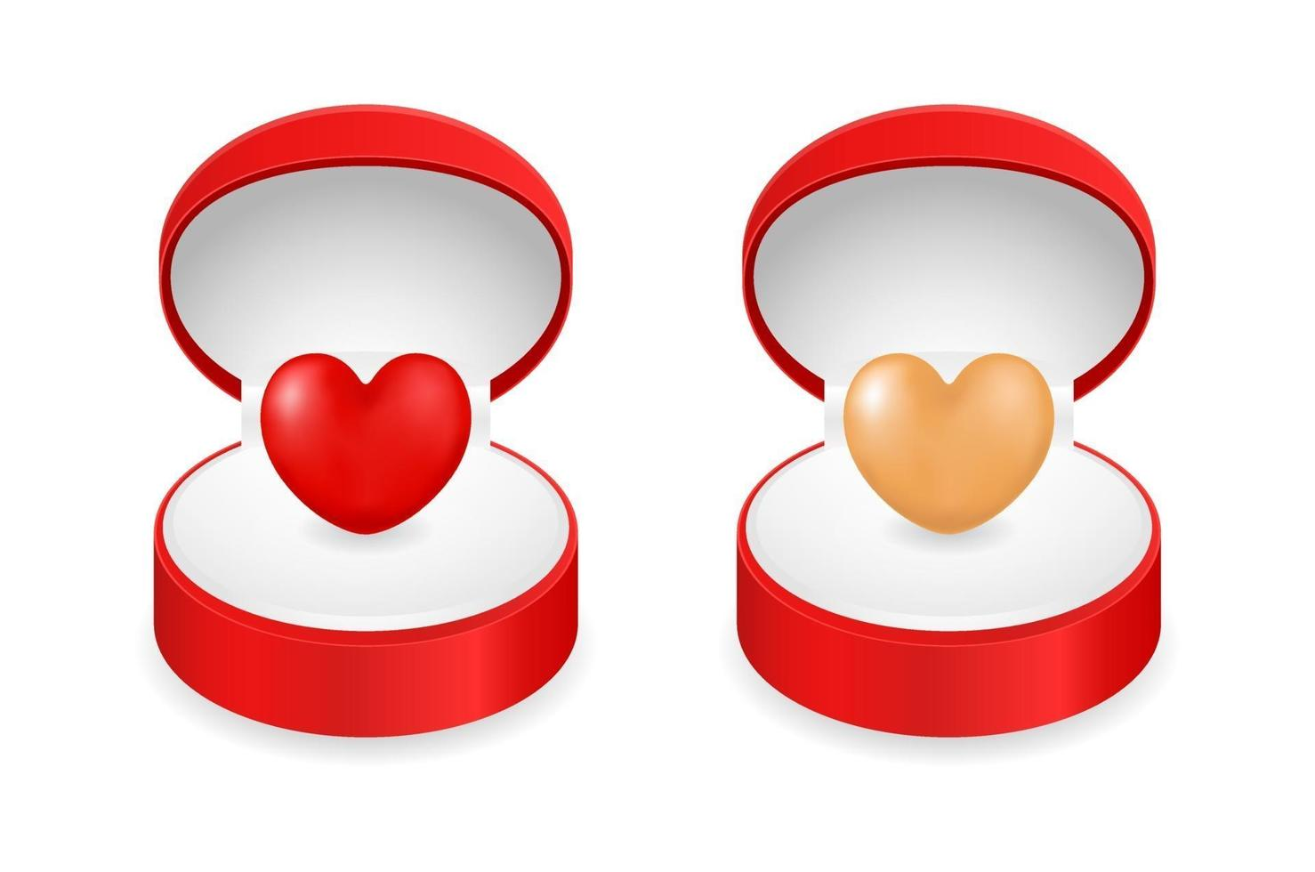coração vermelho em caixa de presente vetor