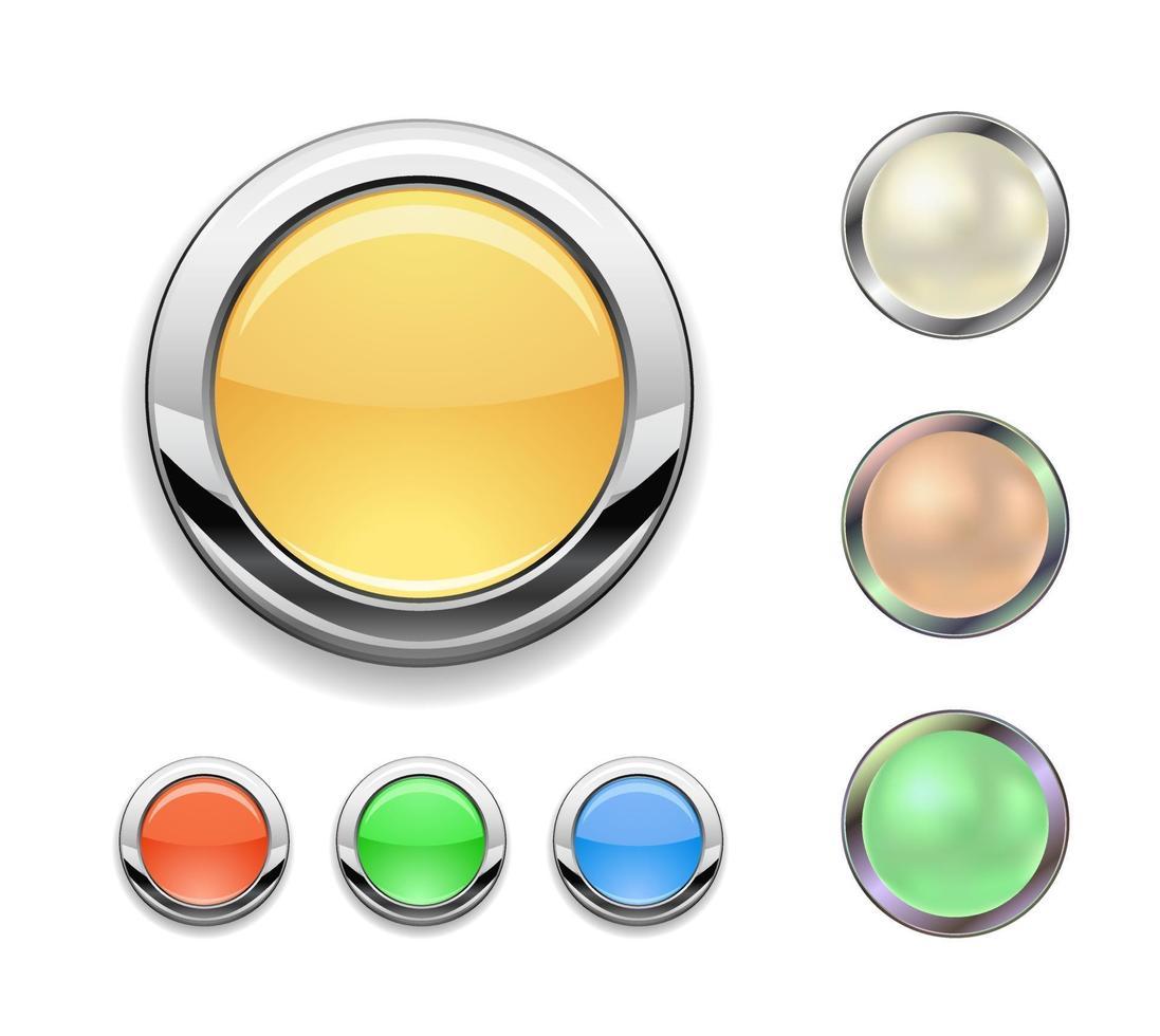 botão redondo de metal vetor