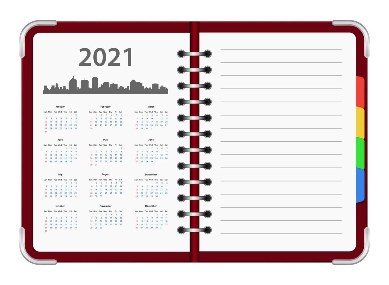 calendário oganizer 2021 vetor