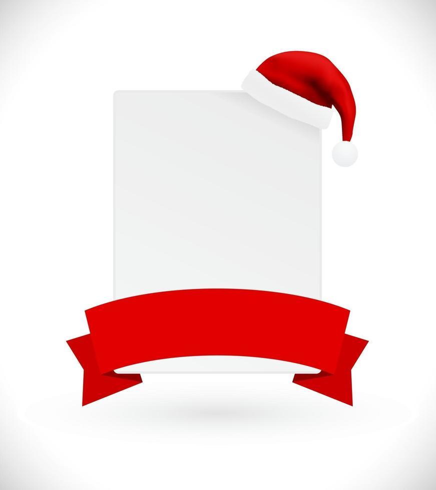 banner cartão de natal com chapéu de papai noel vetor