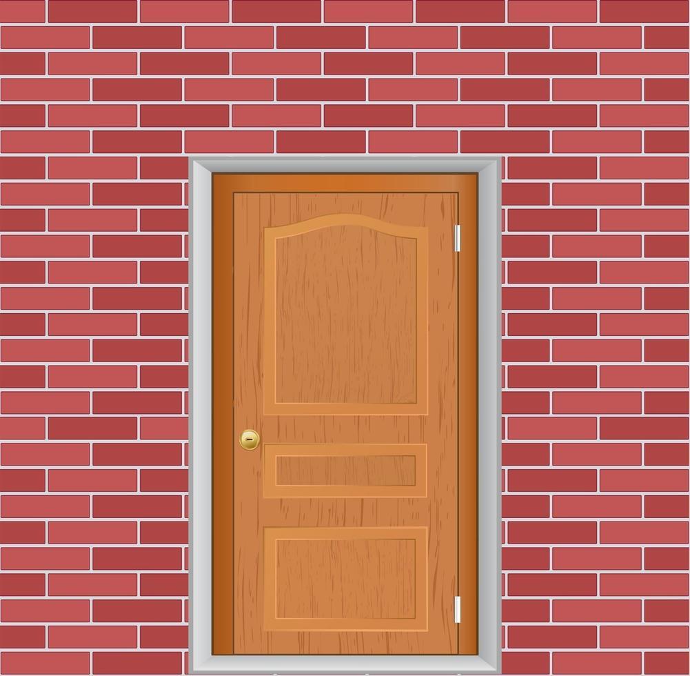 porta de madeira em ícone de vetor de parede de tijolos
