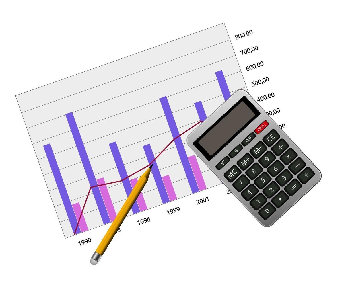 gráfico com ícone de calculadora vetor