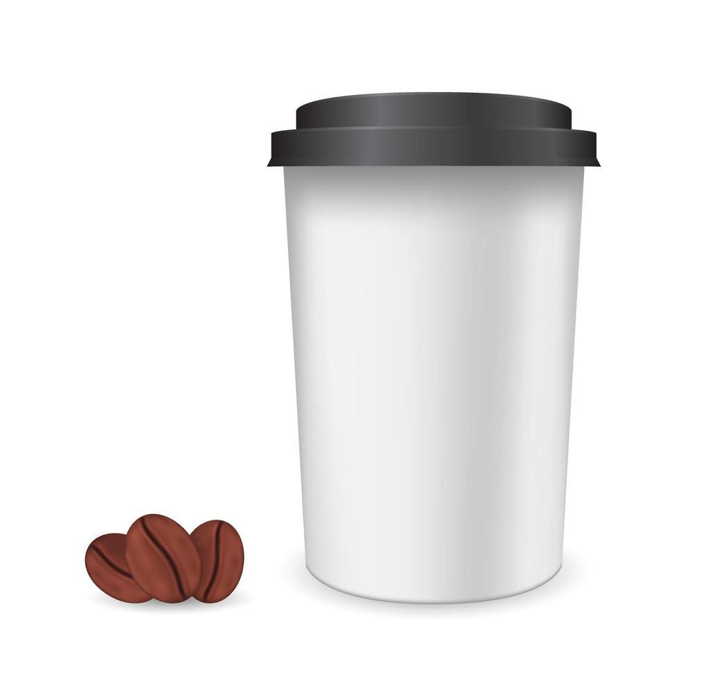 copo de plástico de grãos de café vetor