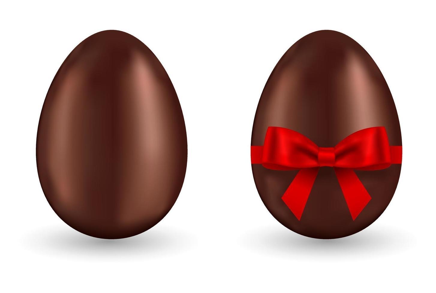 ovo de chocolate com laço vermelho vetor