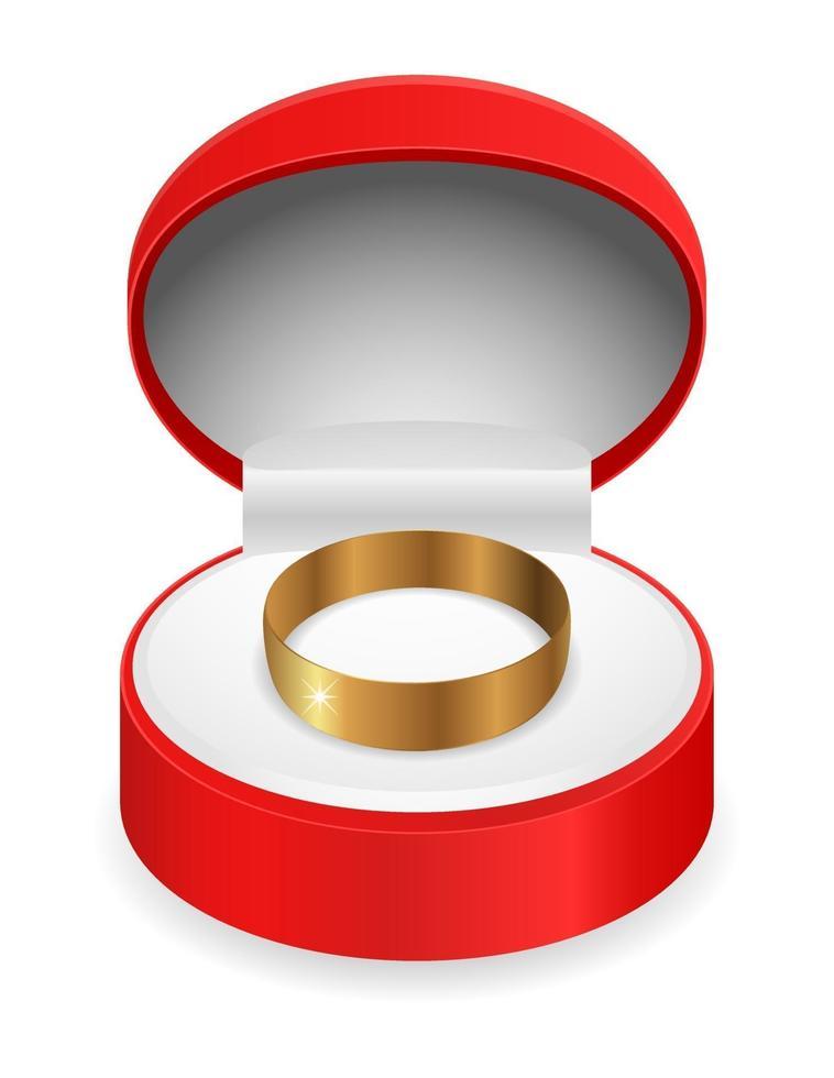caixa de presente anel de ouro vetor