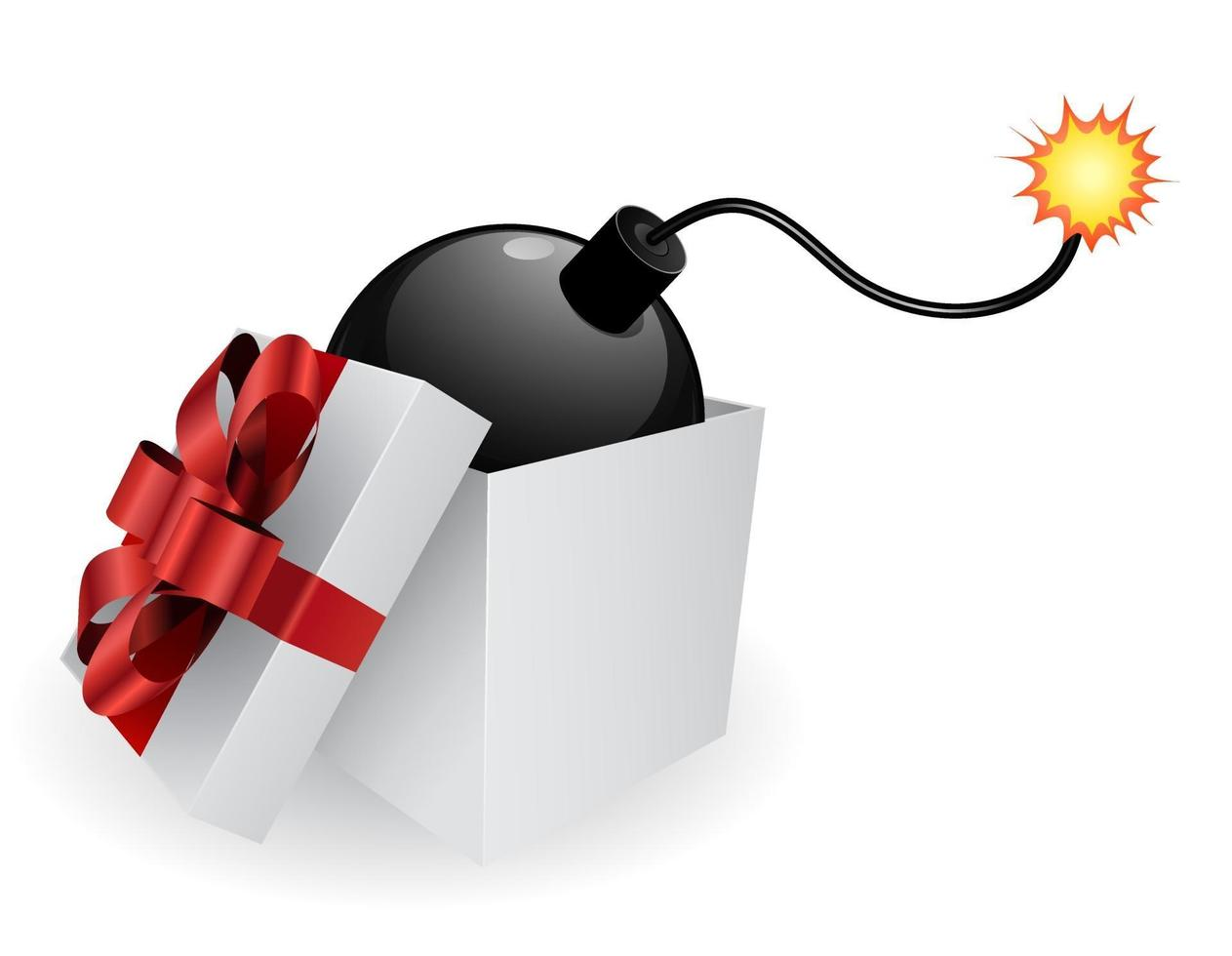 caixa de presente com bomba vetor