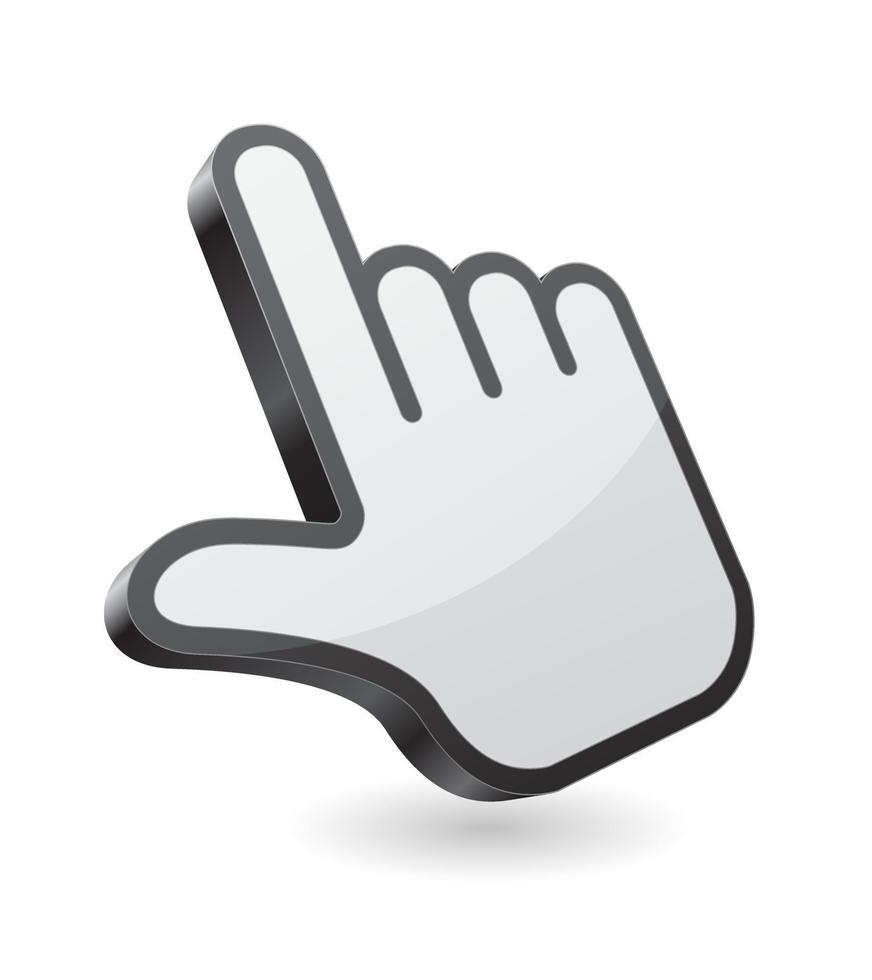 ícone de vetor 3D cursor ponteiro de mão