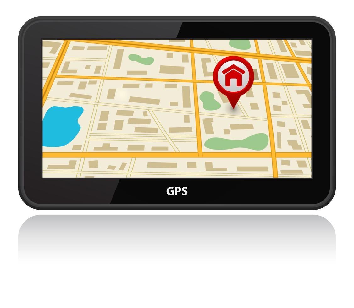 dispositivo GPS com ícone de ponteiro de mapa de pinos vetor