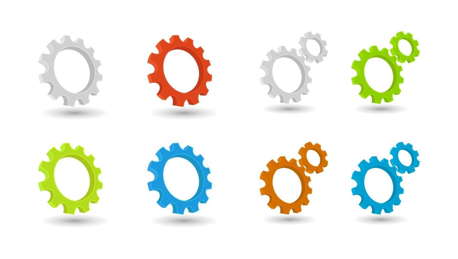 conjunto de ícones 3d de roda dentada para trabalho em equipe vetor