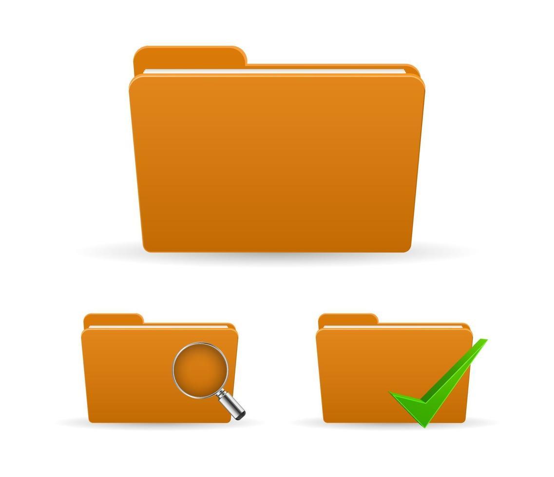 arquivo de pasta de papel com marca de seleção e ícone de vidro de zoom vetor