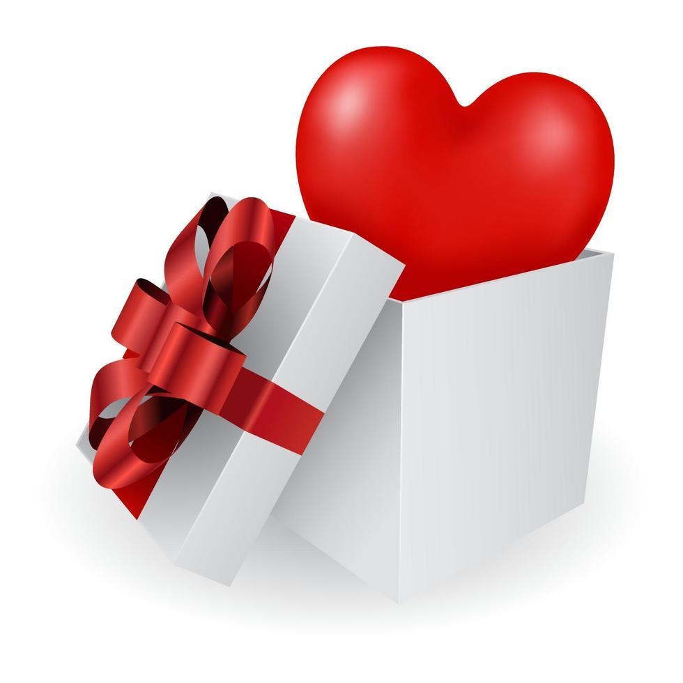 ícone 3d de coração vermelho em caixa de presente vetor