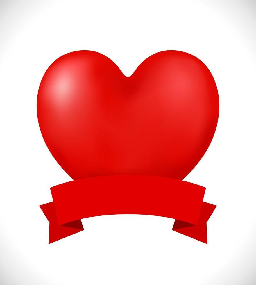 coração 3d bandeira vermelha vetor