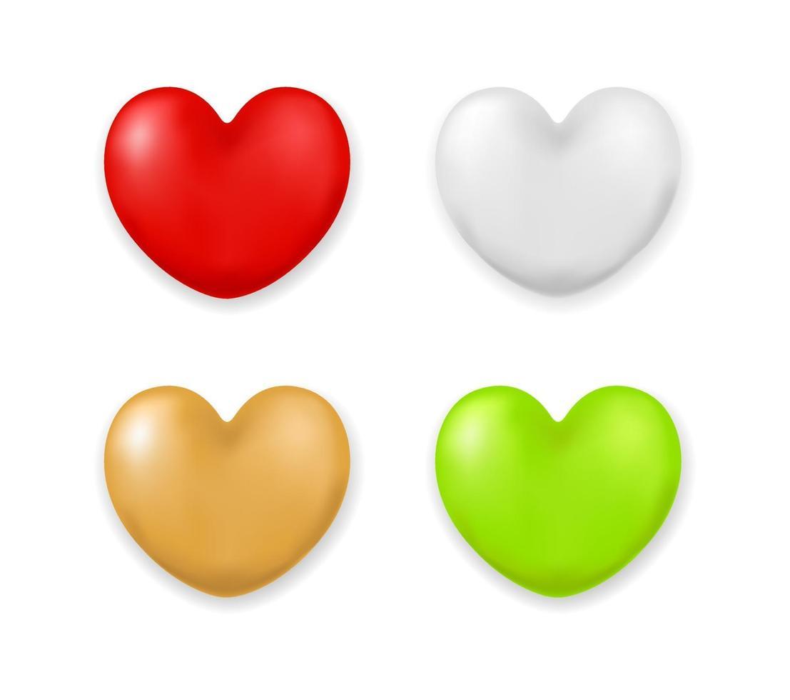 coração 3d colorido vetor