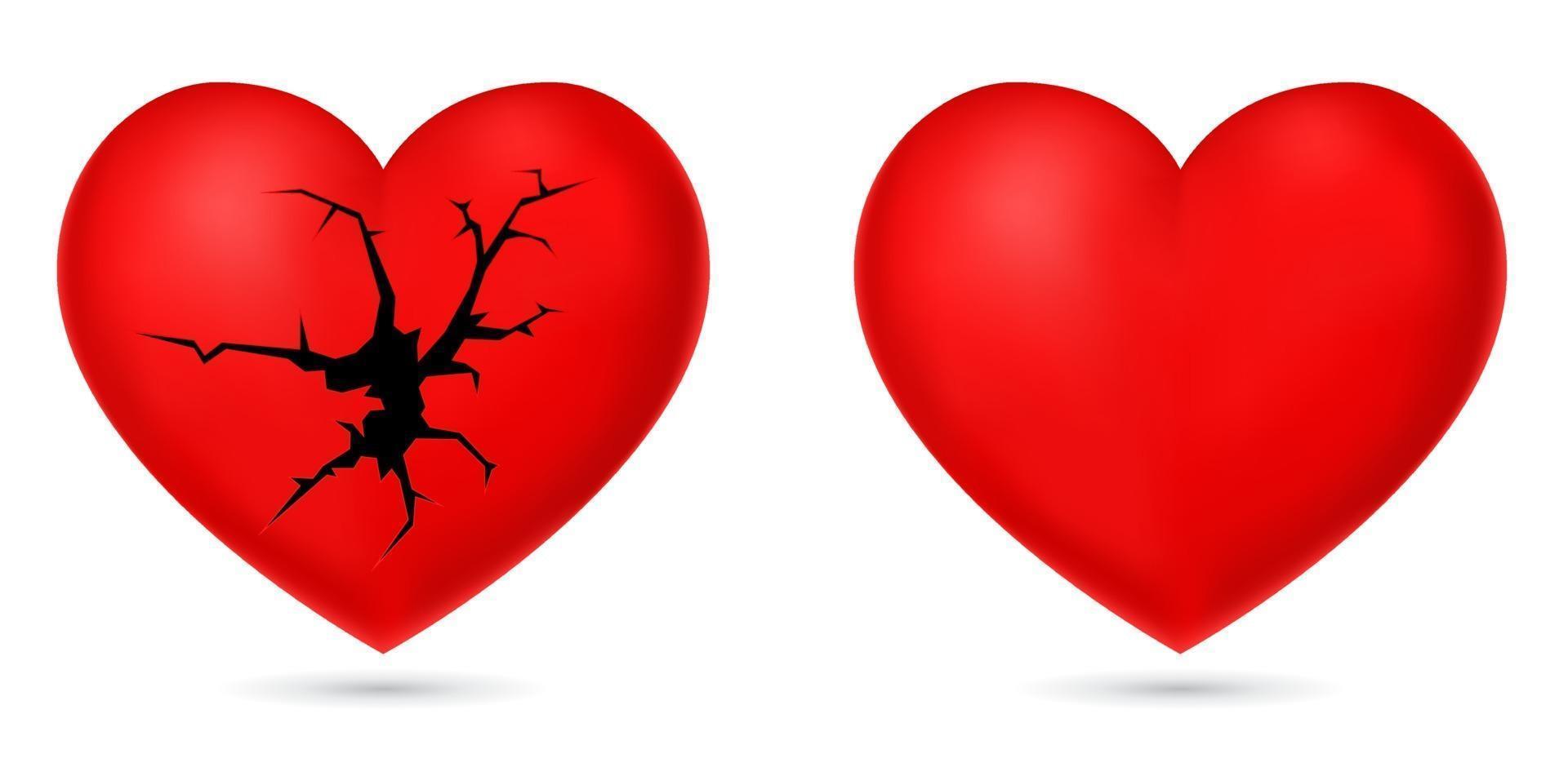 ícone de coração partido vetor